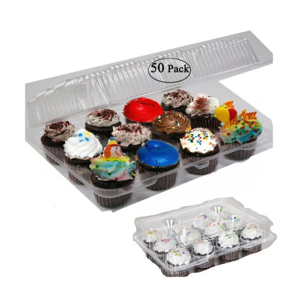 Case of 50 plastic cupcake boxes 12 Cupcake Containers Clear plastic disposab...
