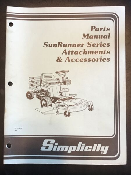 Simplicity Parts Manual SunRunner Attachments Accessories