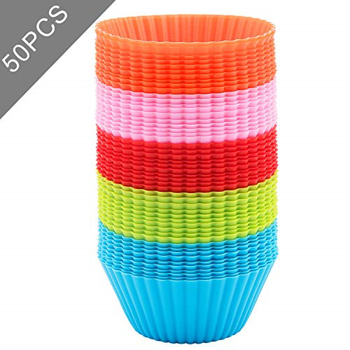 Silicone Cupcake 50 PCS Baking Cups Liners Reusable Non stick Muffin Cups Cake