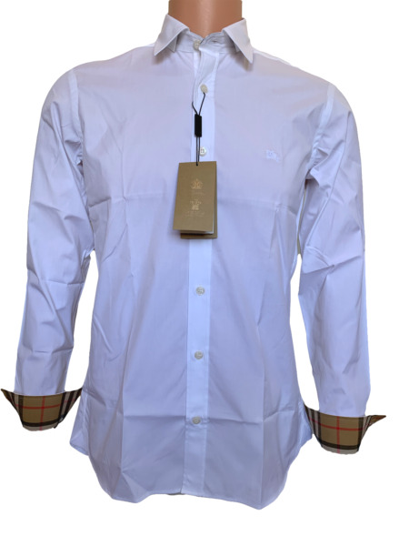 Burberry Men#x27;s Henry Outlet Long Sleeve Stretch Cotton Dress Shirt White $115.00