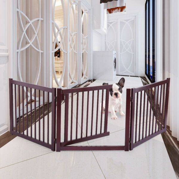 3 Panel 24quot; Configurable Folding Free Standing Wood Pet Dog Safety Fence w Gate $54.99