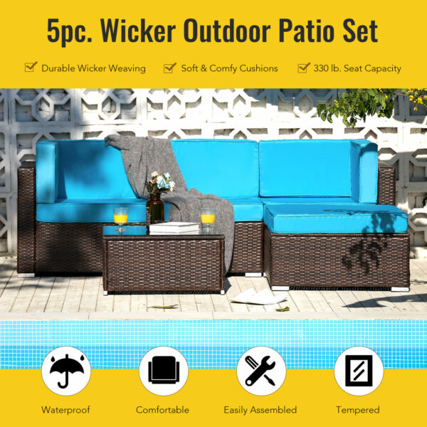 5pc Outdoor Furniture Set Sectional Sofa Table for Lawn Patio More Walnut $412.59