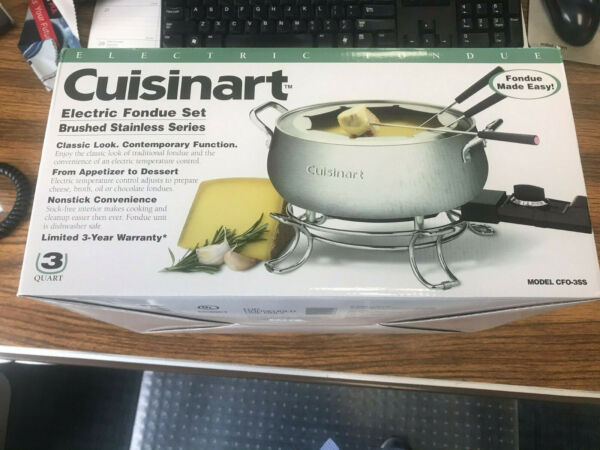 CUISINART ELECTRIC FONDUE SET BRUSHED STAINLESS SERIES IN ORIGINAL BOX