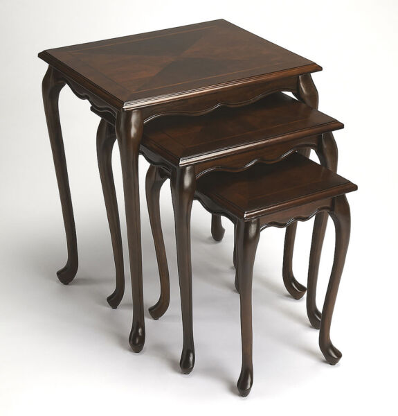 TABLES NEWBURGH NESTING TABLES SET OF THREE CHERRY FINISH FREE SHIPPING*