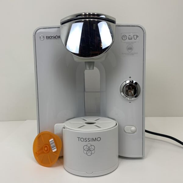 Bosch Tassimo T55 Coffee Maker White Chrome TAS5544UC Descaled Cleaned Tested 3a