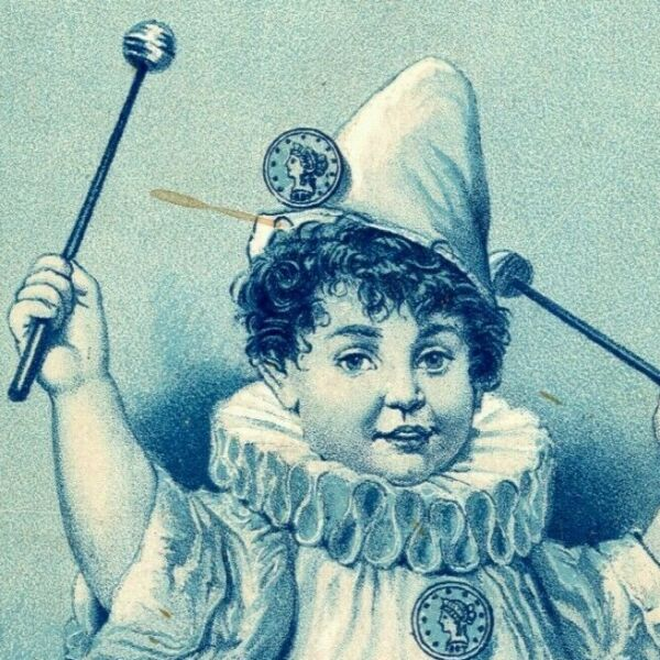 Victorian Trade Card Gold Coin Wood Stoves Pleasant Valley Clown Boy w Drums $19.99