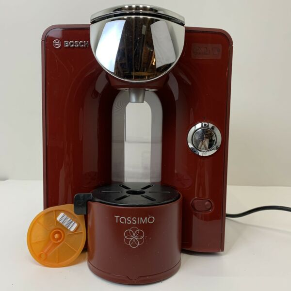 Bosch Tassimo T55 Coffee Maker Red Chrome TAS5543UC Descaled Cleaned Tested 11a