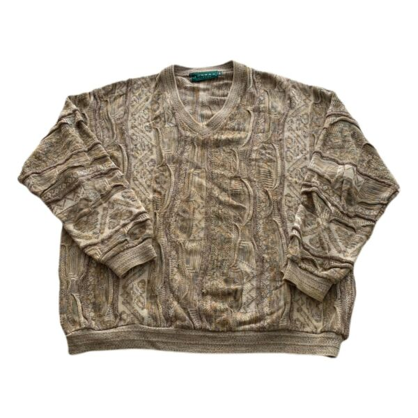 VTG 90s Tundra Tan Coogi 3D Textured Cosby Biggie V Neck Sweater Men's XXL $59.99