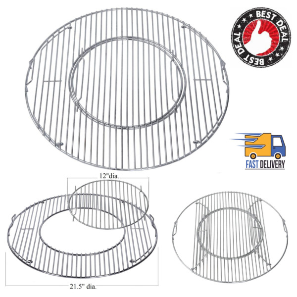 Grill Round Cooking Grate Grid 21.5quot; Stainless Steel For Weber Charcoal Grills
