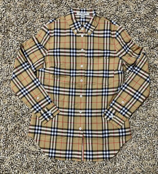 New BURBERRY Women's Nova Plaid Check Button Down Long Sleeve SMLXLXXL $99.99