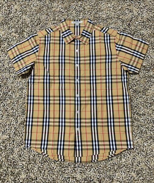 Burberry Men Beige Plaid Short Sleeve Collar Button Shirt S M LXL $99.99