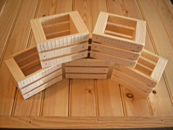 5 Small Handmade Wooden Crates Made From Pine 4quot; L X 3quot; W X 2 3 4quot; H Unfinished