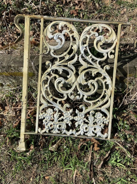Ornate Antique Wrought Iron Porch Railing w Acanthus Leaves amp; Flowers 2 Avail