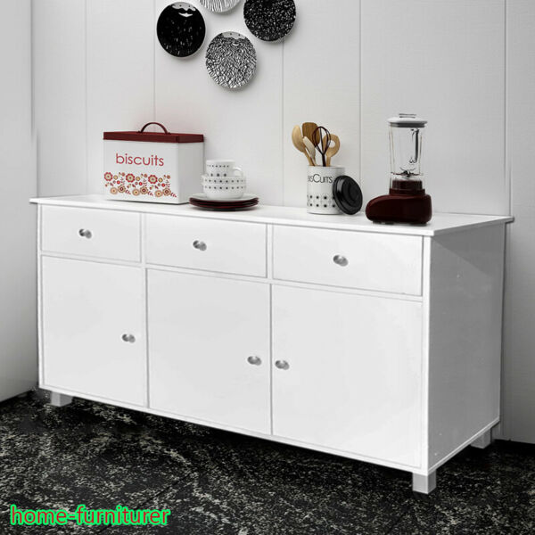 White Gloss Sideboard Cabinet Cupboard Buffet Unit Chest 3 Drawers 3 Doors Unit