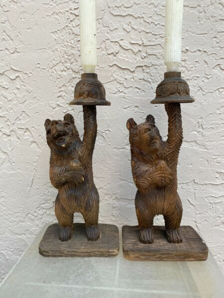 VINTAGE BLACK FOREST PAIR OF CARVED WOOD BEAR SCULPTURES CANDLESTICKS
