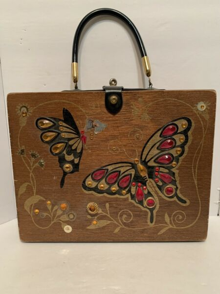 Vintage Wooden Box Purse With Butterflies. Used And Shows Signs Of Wear