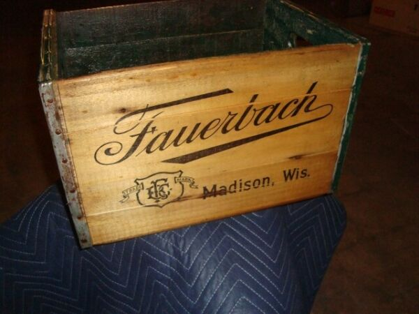 Vintage Fauerbach Wooden Black Logo Beer Crate Madison Wisconsin