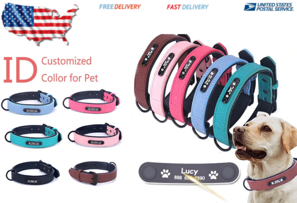 Personalized Dog Collars adjustable Soft Leather Name ID Tags For Cat puppy Pet $15.23