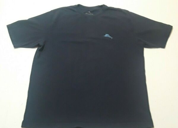 Tommy Bahama Relax Men#x27;s Large Blue Cotton T Shirt Fin amp; Tonic Graphic Tee $11.55