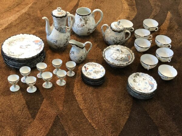 Vintage KUTANI Eggshell Porcelain Japanese Tea Set 42 Pieces Hand Painted Sign