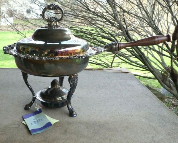 NWT Wallace Baroque Silverplate Chafing Dish #295 With Burner amp; Stand New