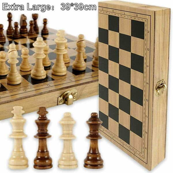 Wooden Chess Game Set Large 15quot; Wood Board Folding Storage Box Hand Carved Piece $27.49