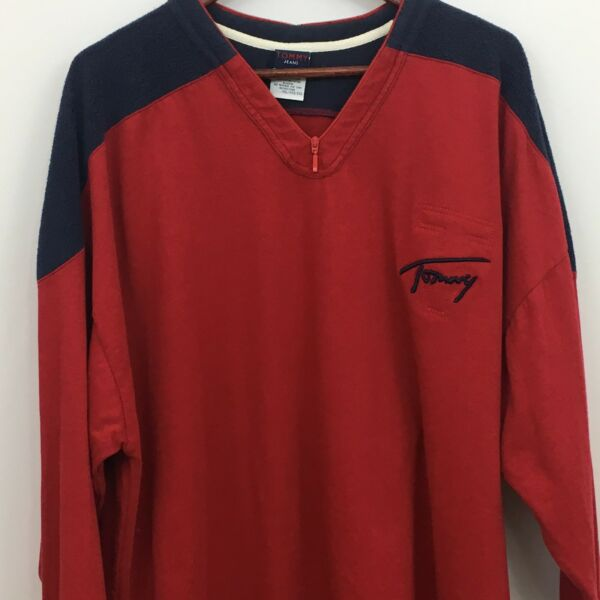 Vintage 80s Tommy Shirt Size 2X Red Blue Football 88 Jersey Fleece Long Sleeve $12.00