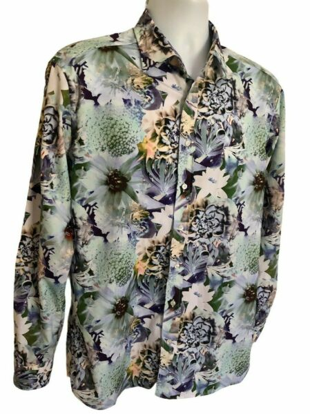 Men#x27;s ETRO Floral Print Shirt Long Sleeve Size 42 $42.95