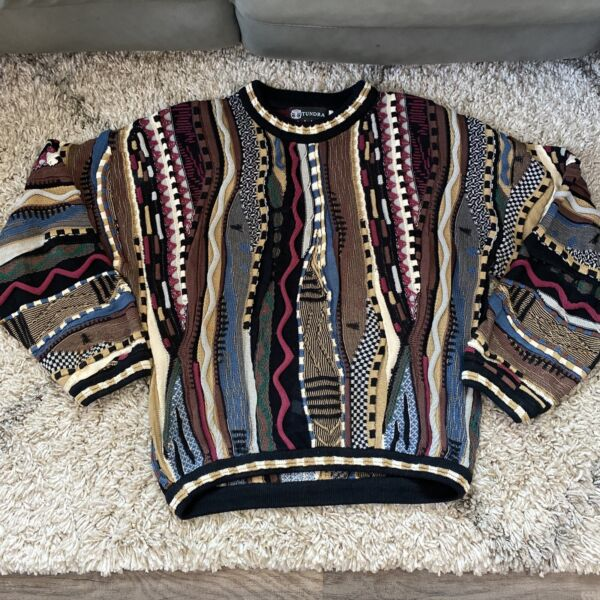 Vtg TUNDRA Canada Crew Neck Pullover Textured Sweater COOGI COSBY Style Mens M $75.00