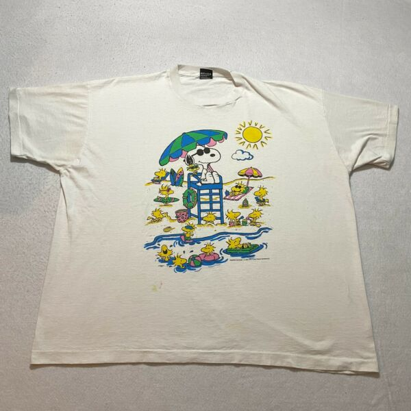 Vintage Screen Stars Peanuts Snoopy T Shirt Size 3XL White Made In Usa Comic