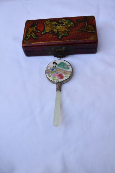 Chinese Porcelain Lotus And Jade Vintage Hand Mirror In Original Box $29.95