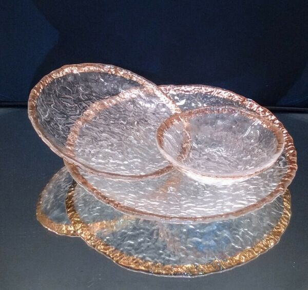 IVV Glacier Ice Italy Art Glass Gold Trim Textured Clear Large Small Plate Bowl $55.00
