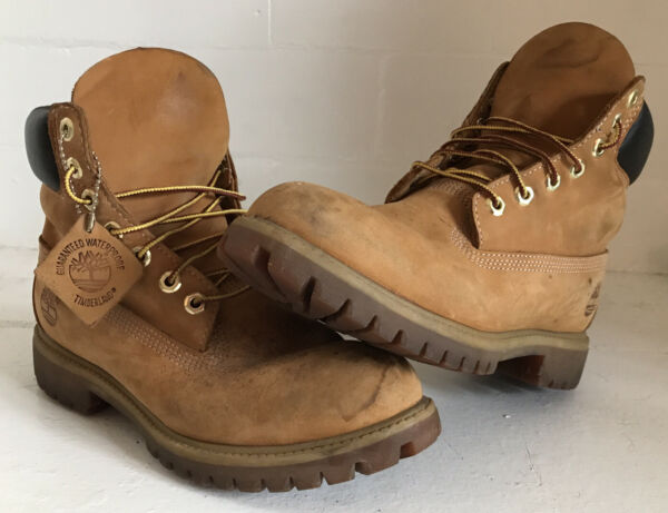 TIMBERLAND PREMIUM WATERPROOF LEATHER MEN'S SZ 8 HIKING WORK BOOTS WHEAT NUBUCK $74.99