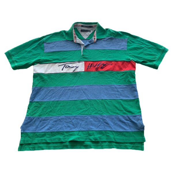 VTG 90s Tommy Hilfiger Green Script Color Block Stripe Rugby Polo Shirt Men#x27;s XL $24.99