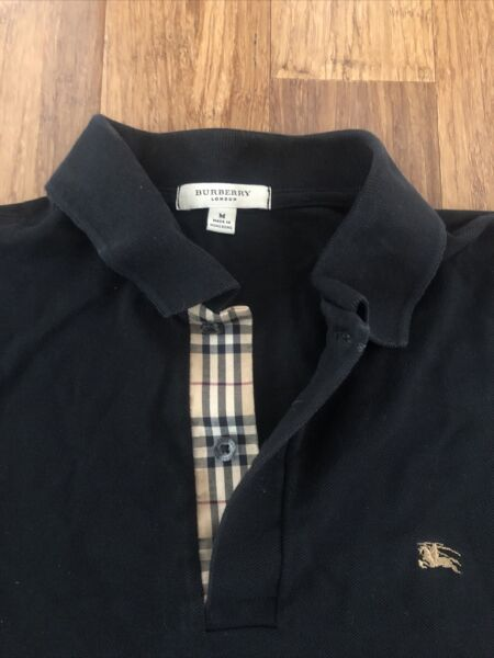 Burberry London Men's Medium Black Polo Shirt 100% Cotton $34.97