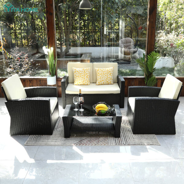 YITAHOME 4 Pieces Outdoor Patio Furniture Set Rattan Wicker Chair Sofa Sectional $515.49