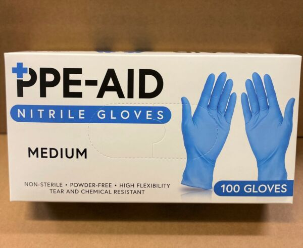 Nitrile Gloves Powder and Latex Free Blue 100ct Small Medium Large X Large