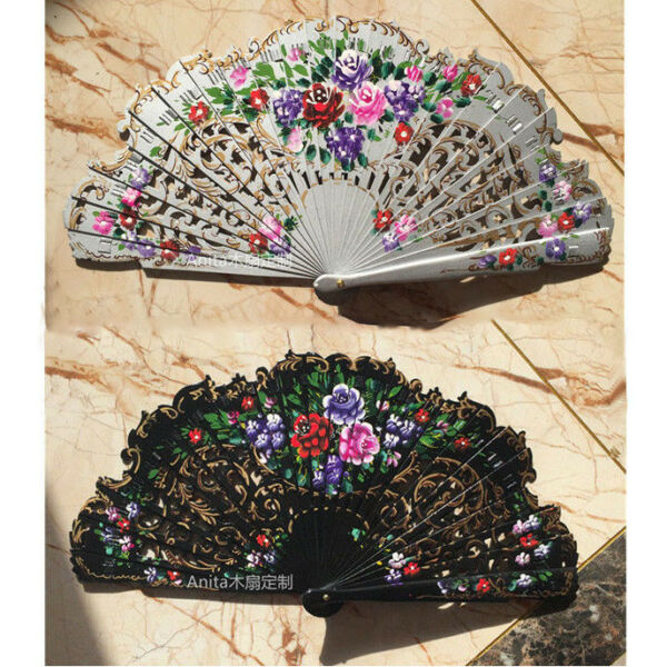 Spanish Style Anita Wood Fans Custom Hand Painted Fans Dance Fans Wedding Gift $18.79