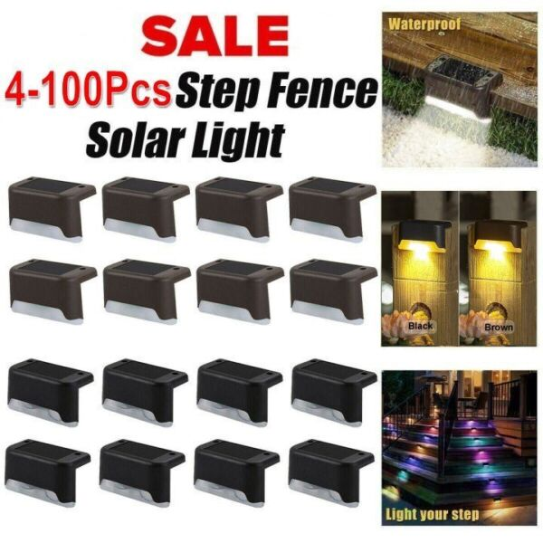 Outdoor Solar LED Deck Lights Garden Path Patio Pathway Stairs Step Fence Lamp $19.99