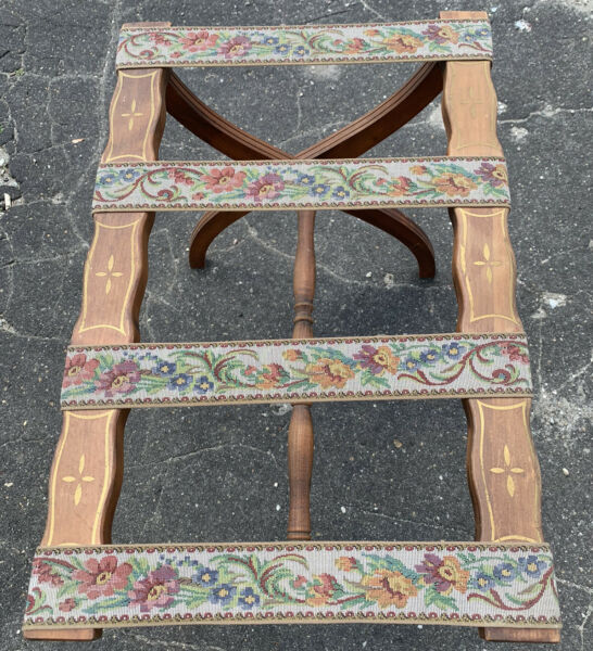 Vintage Wood Luggage Suitcase Folding Rack Stand Tapestry Fabric Strips Hotel $55.00