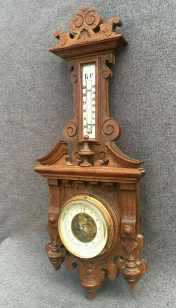 Antique black forest barometer thermometer wood early 1900#x27;s germany