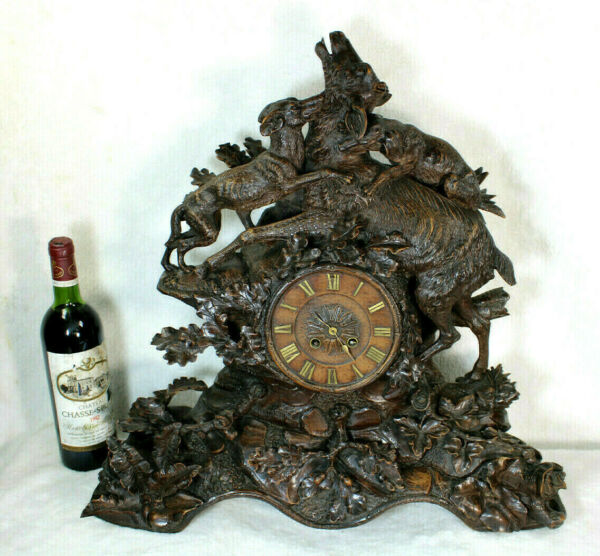 XL top antique BLACK FOREST wood carved clock hunting scene dogs deer rare