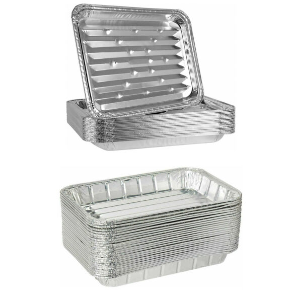 BULK Small amp; Large Broiler Pan Aluminum Disposable For Baking BBQ amp; Grill Tray $19.99