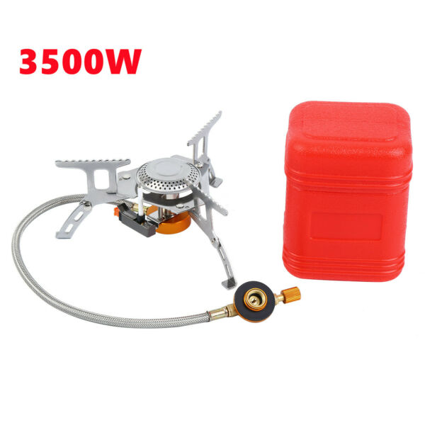 3500W Portable Outdoor Picnic Gas Burner Camping Mini Steel Stove With Case