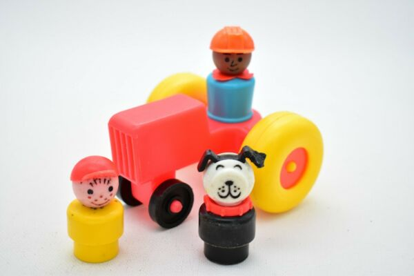 Lot of 4 Vintage Fisher Price Little People Farmer Boy Dog amp; Tractor $16.99