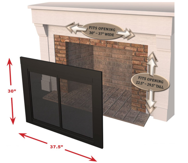 Pleasant Hearth AN 1010 Alpine Fireplace Glass Door Black Small