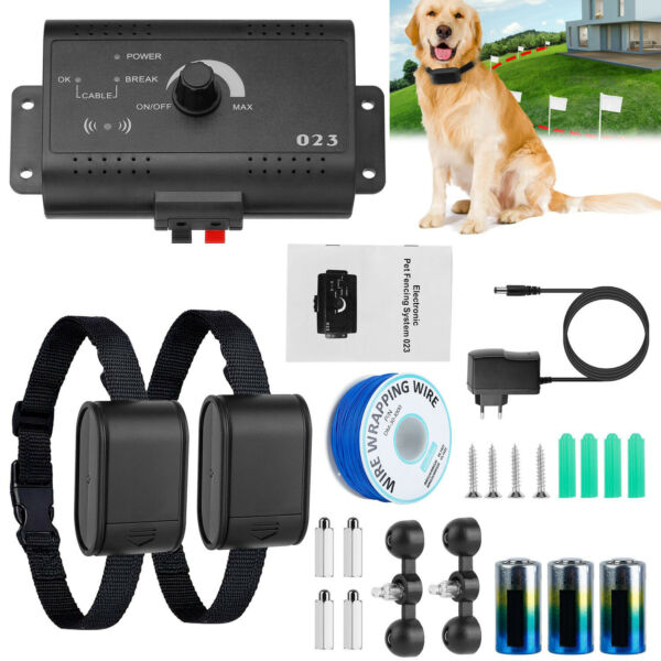 Electric Dog Fence System Waterproof Pet Containment Shock Collars for 2 Dogs