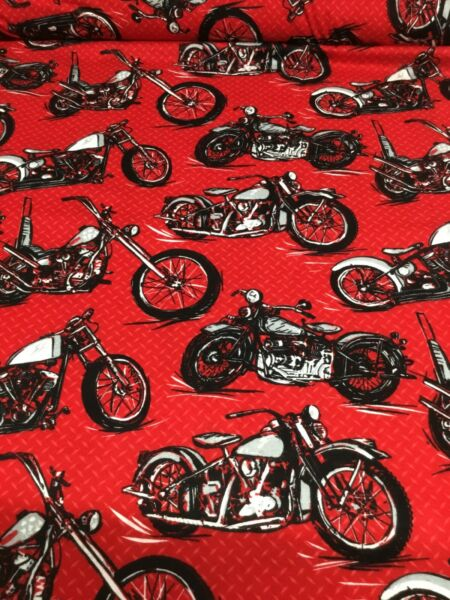Vintage Motorcycles Bike On Red 44quot; Wide Fabric Super Snuggle Flannel BTY $5.95