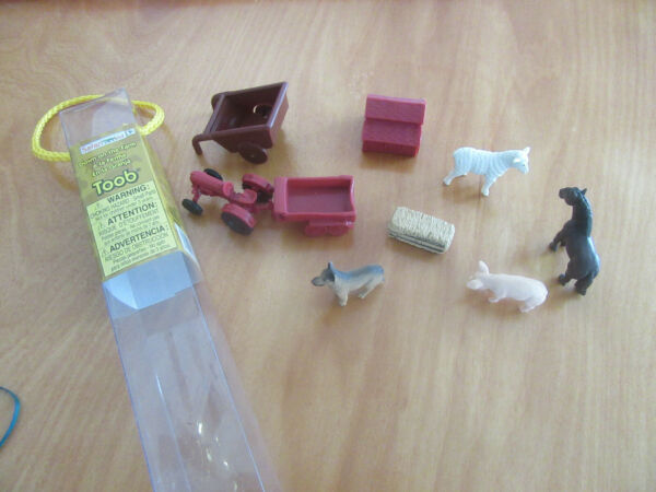 Mini Farm Animals Nature Tube Safari Limited 9 pc lamb pig horse dog tractor etc $3.00