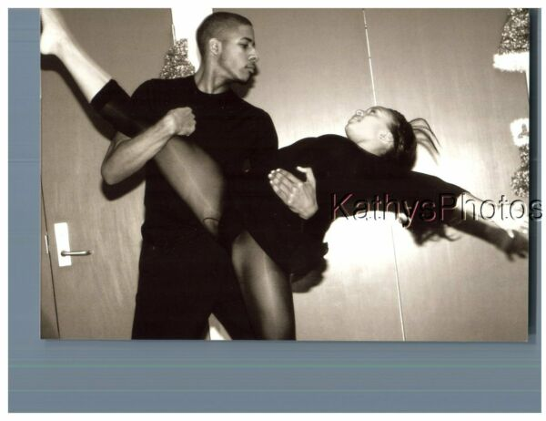 FOUND Bamp;W PHOTO H 8048 YOUNG BLACK MAN AND GIRL BALLET DANCERS DANCING